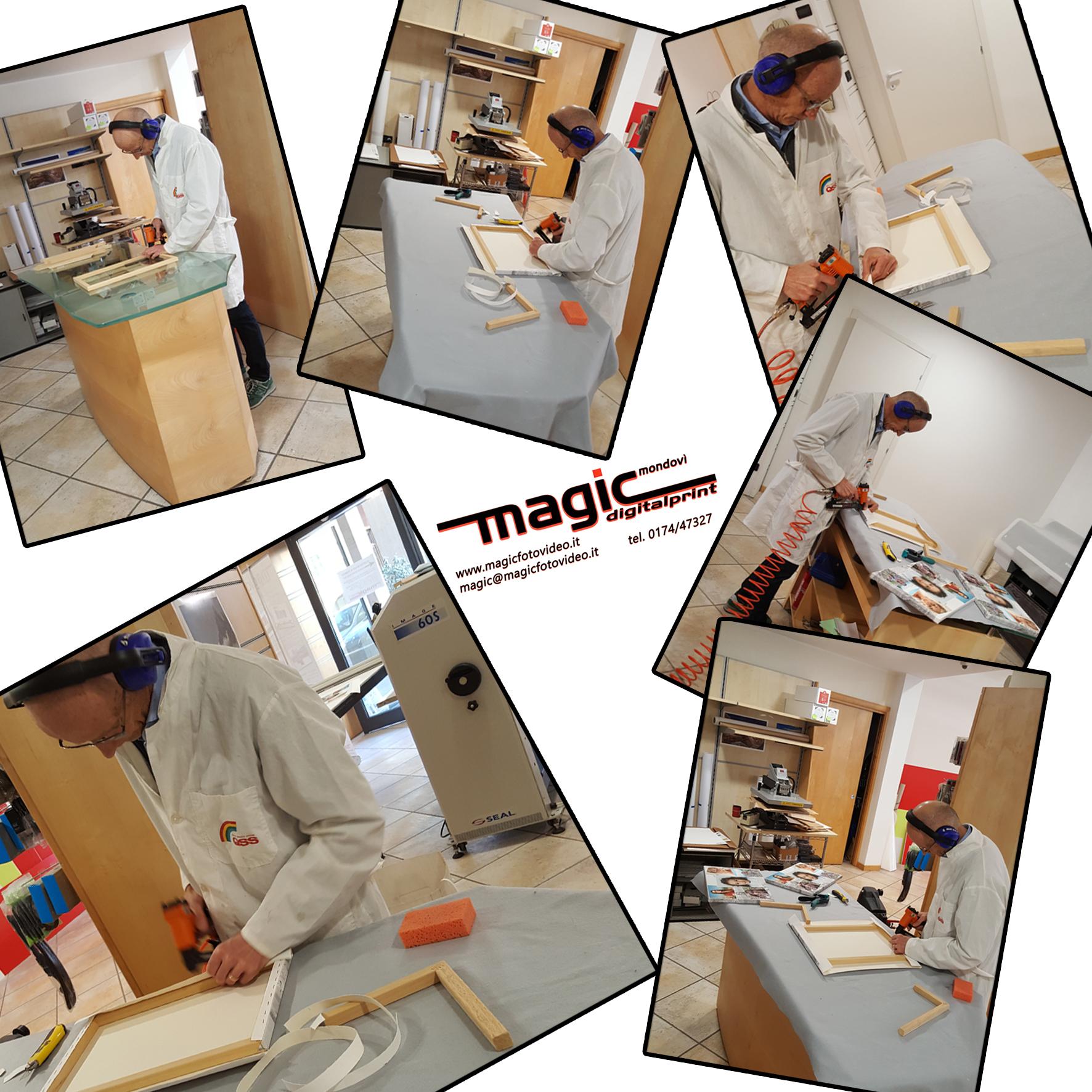 Lavorazione artigianale di stampe su canvass